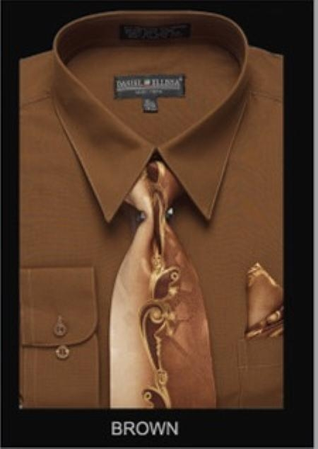 SKU#BR9493 Mens Classic Dress Shirt Brown $55