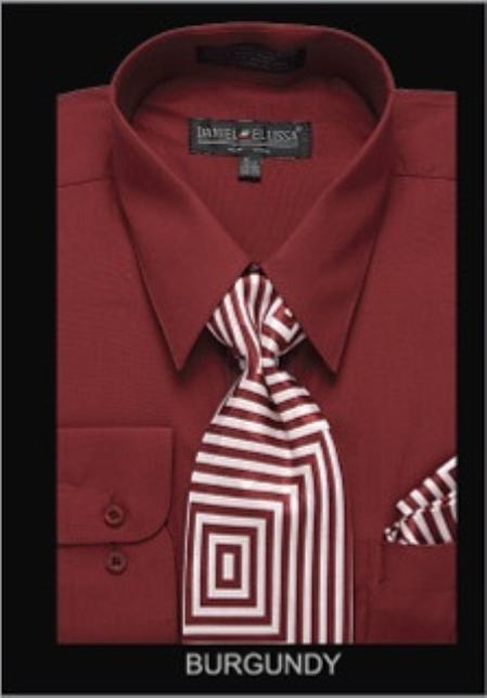 SKU#BR7321 Mens Classic Dress Shirt Burgundy $39