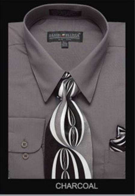 SKU#CH3222 Mens Classic Dress Shirt Charcoal $39