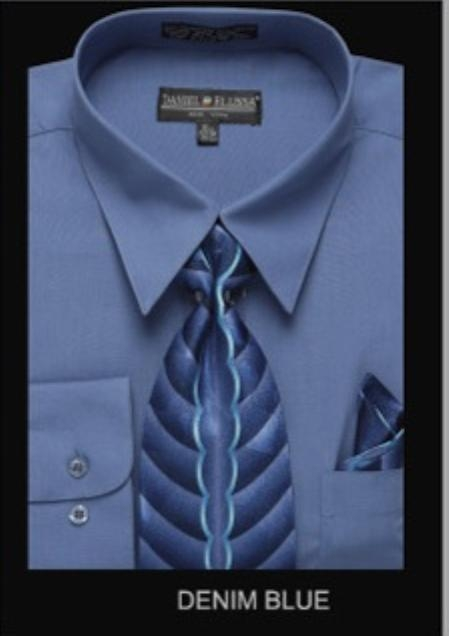 SKU#DB6790 Mens Classic Dress Shirt Denim Blue $55