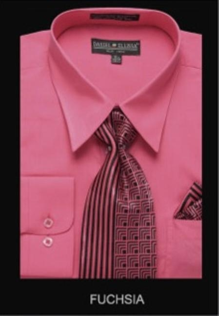 SKU#FU9922 Mens Classic Dress Shirt Fuchsia $55