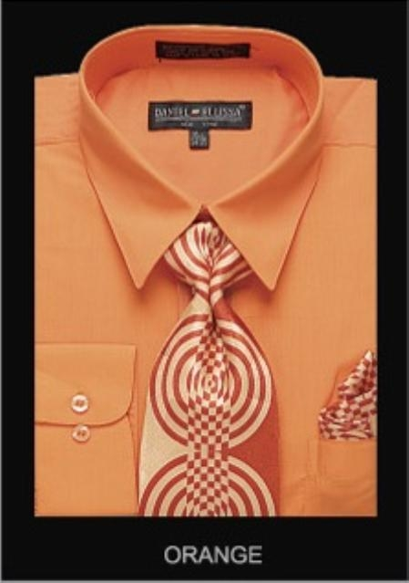 SKU#OA5432 Mens Classic Dress Shirt Orange $55