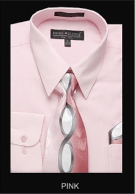 SKU#PN0872 Mens Classic Dress Shirt Pink $55