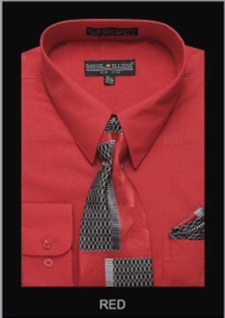 SKU#RE4321 Mens Classic Dress Shirt Red $55