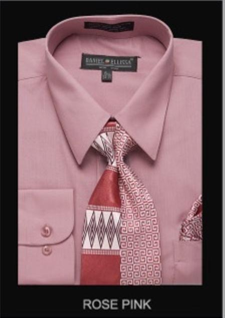 SKU#RP73128 Mens Classic Dress Shirt Rose Pink $39