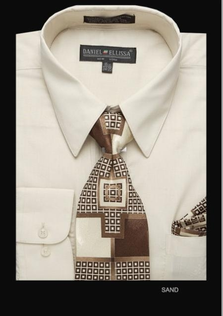 SKU#SD6801 Mens Classic Dress Shirt Sand $39