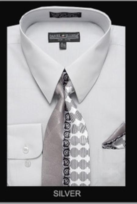SKU#SV5981 Mens Classic Dress Shirt Silver $39