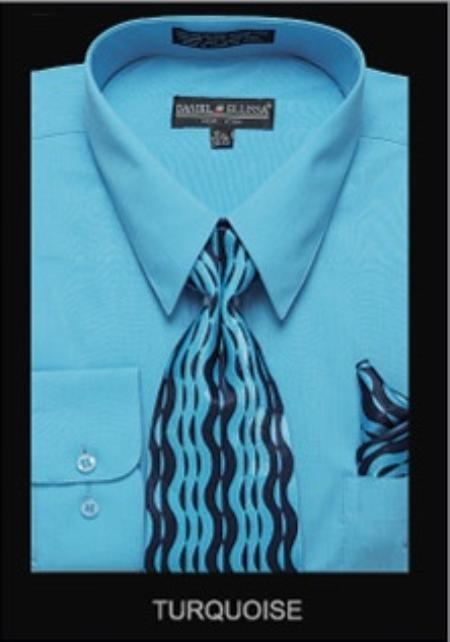 SKU#BK9182 Mens Classic Dress Shirt turquoise ~ Light Blue Colored $55