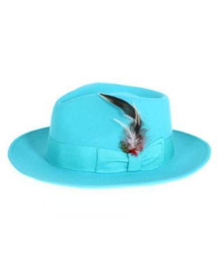 SKU#CY2955 Mens Cyan Fedora Hat