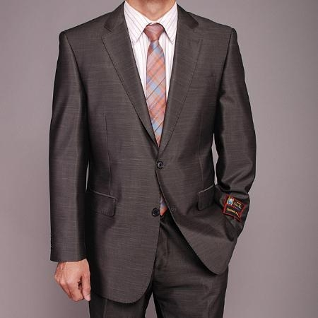 SKU#FR7412 Mens Dark Gray Shiny 2-button Suit