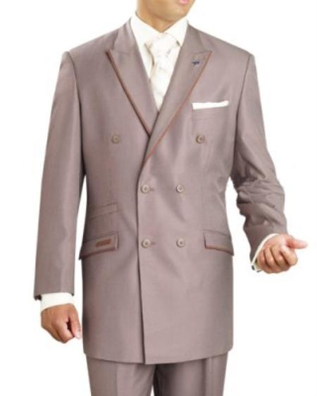 SKU#JY6650 Mens Double Breasted Brown Suit $175