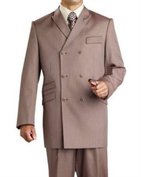SKU#FQ9210 Mens Double Breasted Brown Suit $175