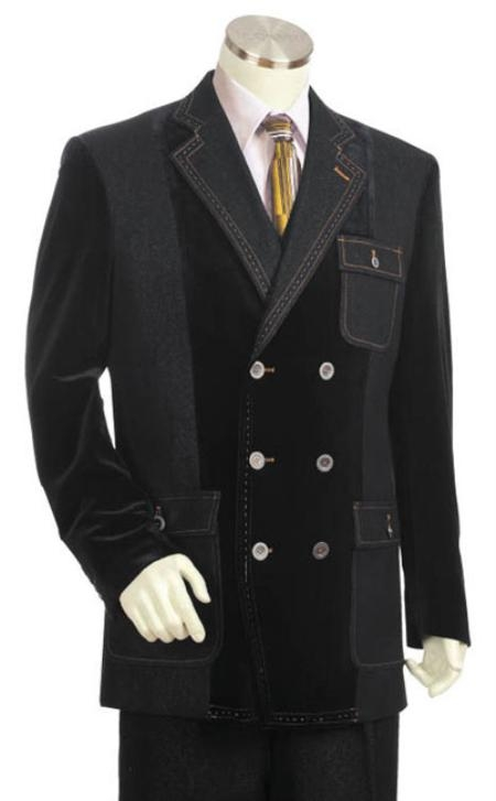 SKU#SX5732 Mens Double Breasted Fashion Denim Cotton Fabric Trimmed Two Tone Blazer/Suit/Tuxedo Black With Grey $200