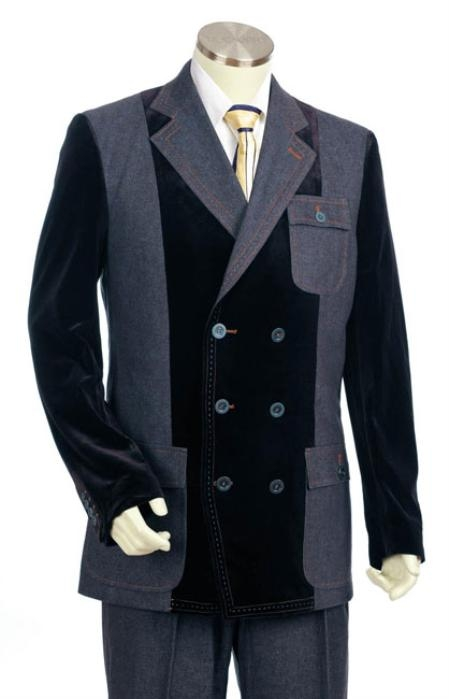 SKU#JM6009 Mens Double Breasted Fashion Denim Cotton Fabric Trimmed Two Tone Blazer/Suit/Tuxedo Grey With Black $200