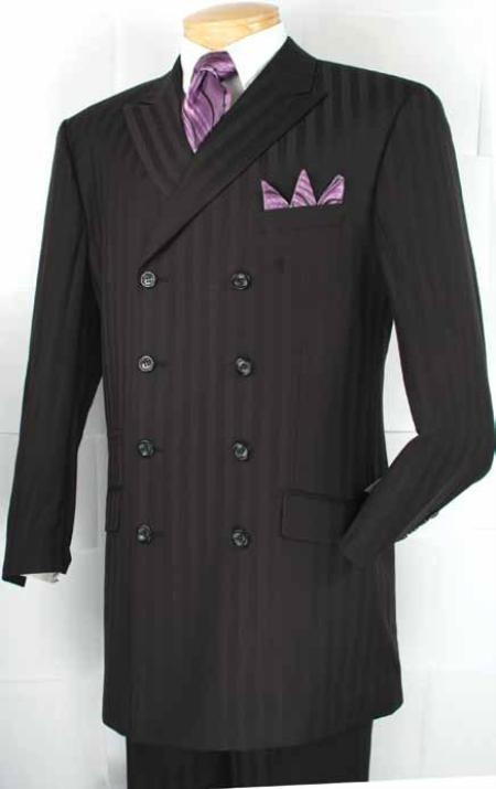 SKU#GN0322 Mens Double Breasted Fashion Suit Black $179
