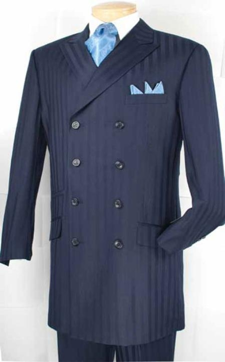 SKU#RR5555 Mens Double Breasted Fashion Suit Blue $179