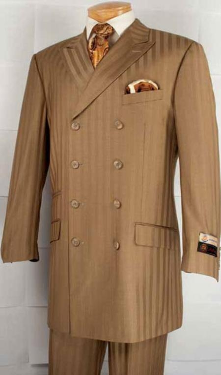 SKU#RX8222 Mens Double Breasted Fashion Suit Camel $179