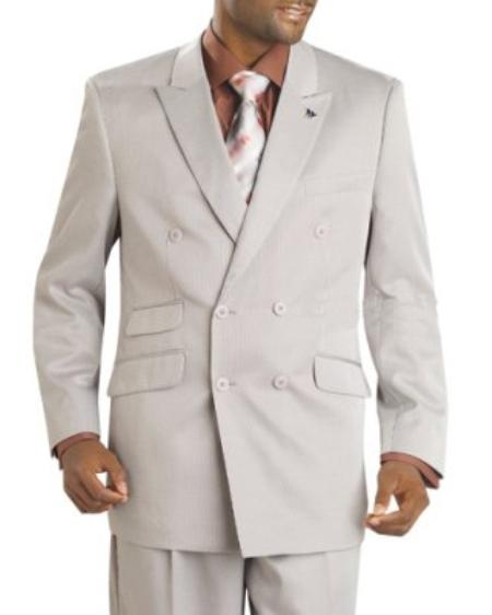 SKU#KQ7012 Mens Double Breasted Sand Striped Suit $175