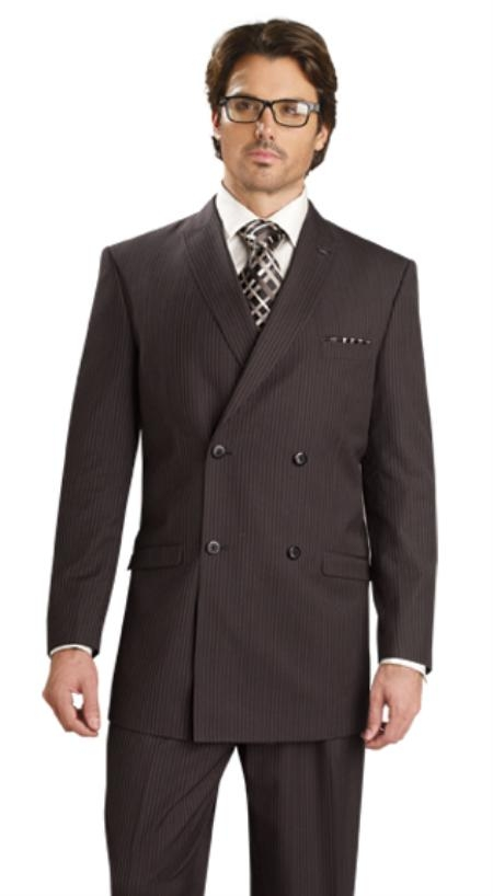 SKU#QB3211 Mens Double Breasted Suit Black-Gold $139