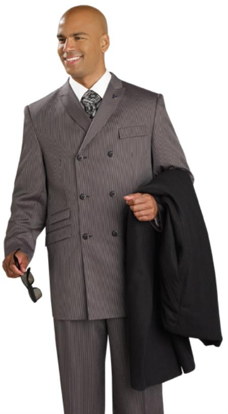 SKU#KJ8111 Mens Double Breasted Suit Brown $199