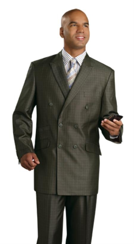 SKU#WS1244 Mens Double Breasted Suit Olive $139