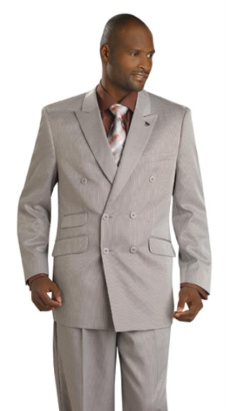 SKU#MU1939 Mens Double Breasted Suit Sand $199