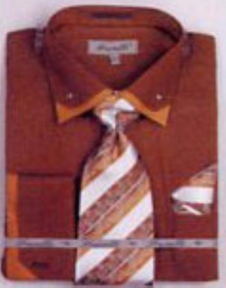 SKU#QH5381 Mens Double Collar French Cuff Shirts with Cuff Links Brown $65