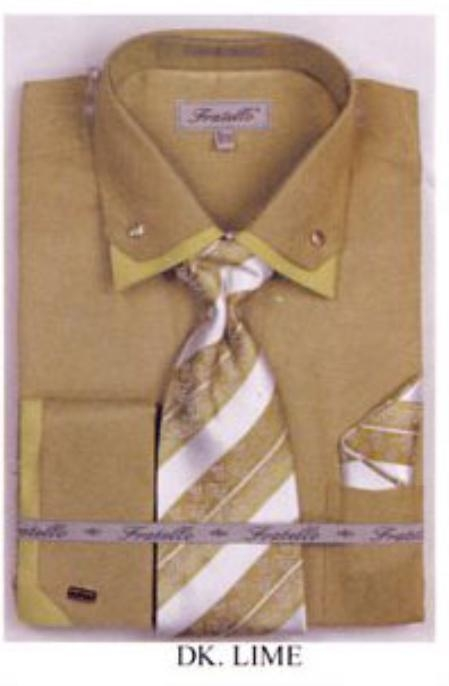 SKU#KQ3056 Mens Double Collar French Cuff Shirts with Cuff Links Dark Lime $65