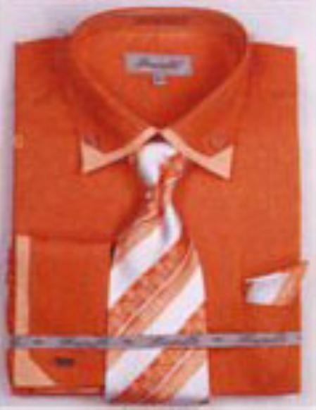 SKU#LR7153 Mens Double Collar French Cuff Shirts with Cuff Links Rust $65