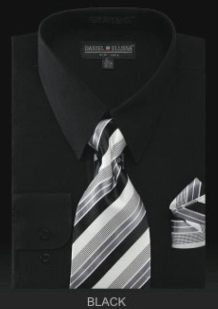 SKU#JN7822 Mens Dress Shirt - PREMIUM TIE - Black