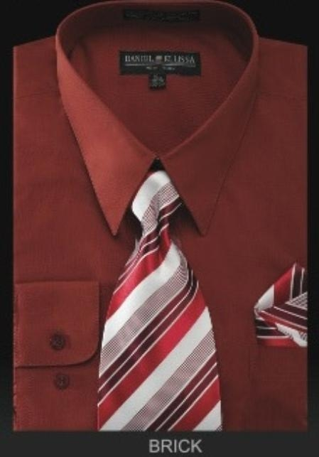 SKU#HM2788 Mens Dress Shirt - PREMIUM TIE - Brick $55