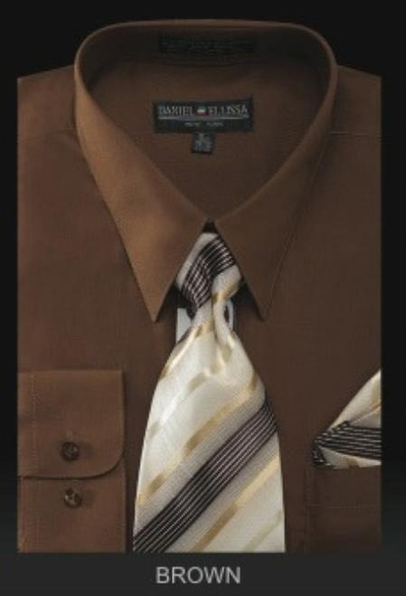 SKU#BR6001 Mens Dress Shirt - PREMIUM TIE - Brown $55