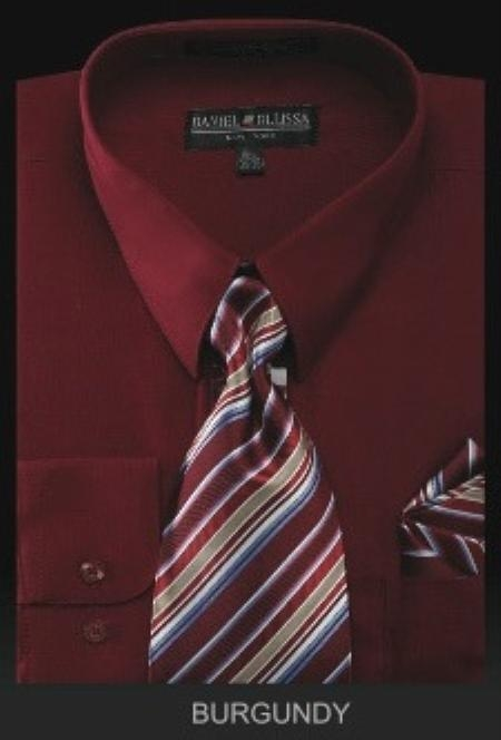 SKU#YK2990 Mens Dress Shirt - PREMIUM TIE - Burgundy ~ Maroon ~ Wine Color $55