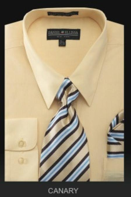 SKU#NK9183 Mens Dress Shirt - PREMIUM TIE - Canary