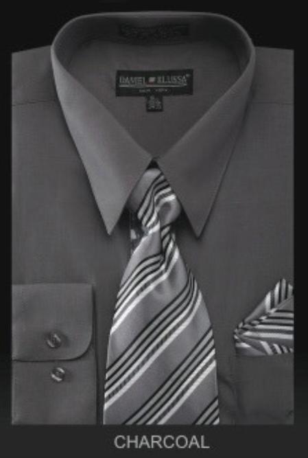 SKU#MA4994 Mens Dress Shirt - PREMIUM TIE - Charcoal