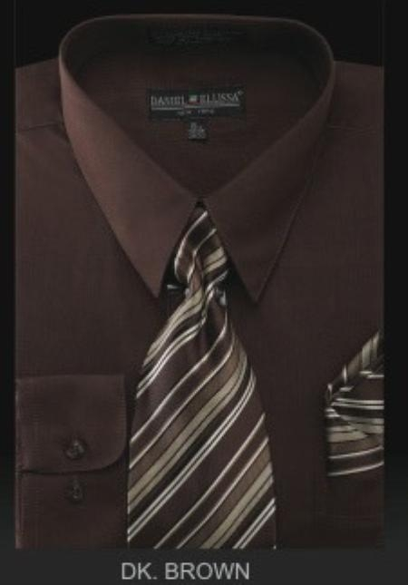 SKU#BZ9922 Mens Dress Shirt - PREMIUM TIE - Dark Brown $39