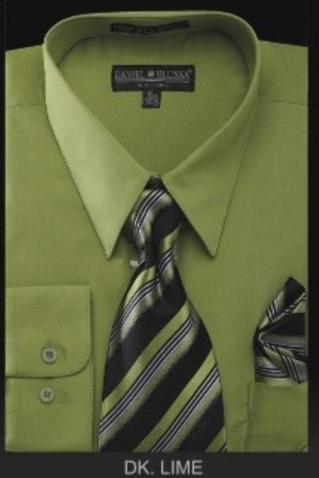 SKU#YJ6785 Mens Dress Shirt - PREMIUM TIE - Dark Lime $39