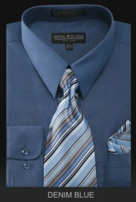 SKU#WE6777 Mens Dress Shirt - PREMIUM TIE - Denim Blue