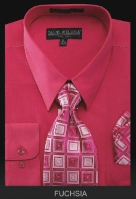 SKU#OK8821 Mens Dress Shirt - PREMIUM TIE - Fuchsia $39
