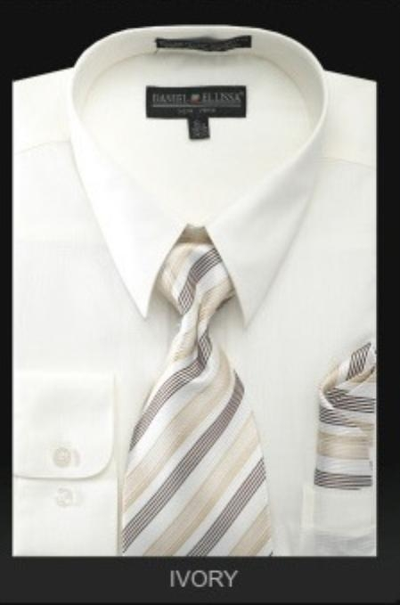 SKU#KN7289 Mens Dress Shirt - PREMIUM TIE - Ivory