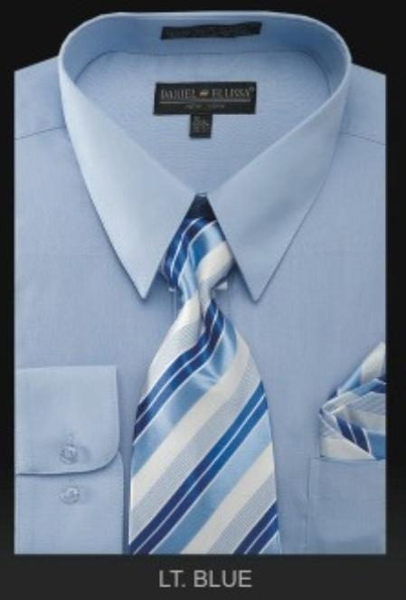 SKU#KL0282 Mens Dress Shirt - PREMIUM TIE - Light Blue