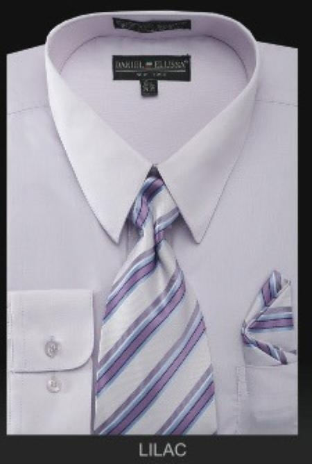SKU#UH8822 Mens Dress Shirt - PREMIUM TIE - Lilac Lavender
