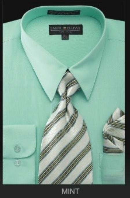 Sku#Rz7676 Mens Dress Shirt - Premium Tie - Mint Green Lime