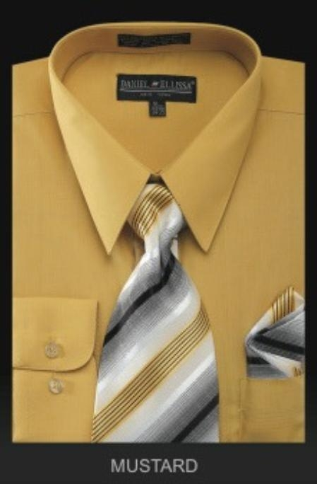 SKU#JK2992 Mens Dress Shirt - PREMIUM TIE - Gold~Yellow~Mustard $39