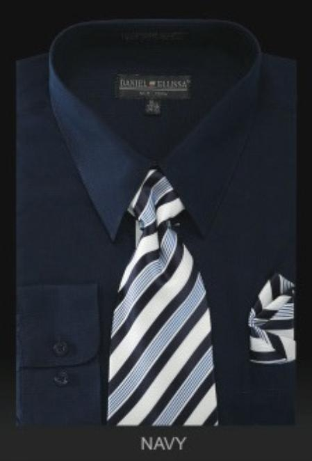 SKU#LV7853 Mens Dress Shirt - PREMIUM TIE - Navy