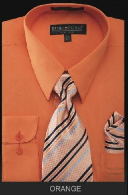 SKU#OR4343 Mens Dress Shirt - PREMIUM TIE - Orange $55