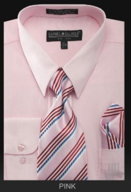 SKU#PN_J22 Mens Dress Shirt - PREMIUM TIE - Pink