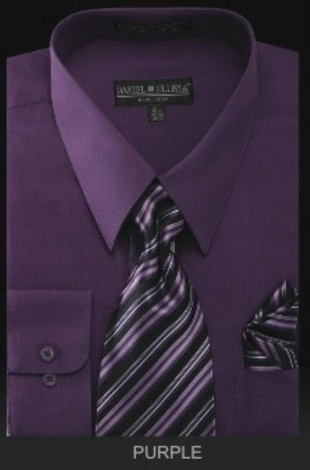 SKU#PU3823 Mens Dress Shirt - PREMIUM TIE - Purple $39