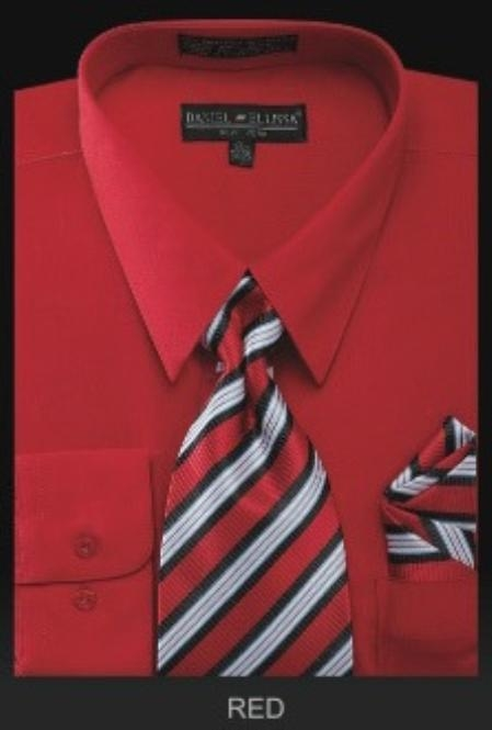 SKU#RD7921 Mens Dress Shirt - PREMIUM TIE - Red $55