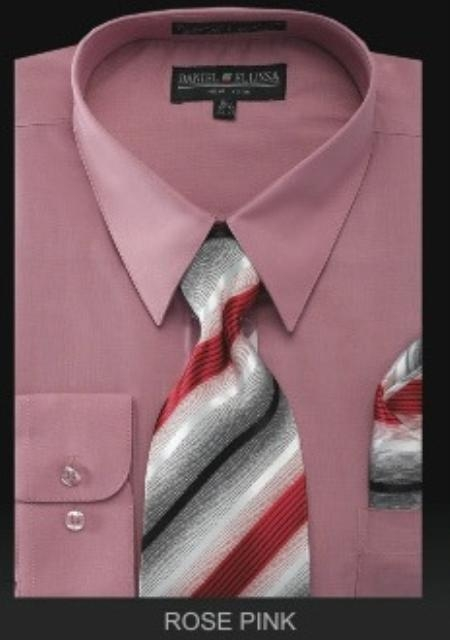 SKU#ZX8743 Men's Dress Shirt - PREMIUM TIE - Rose Pink